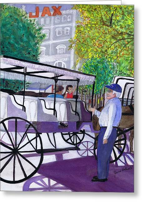 French Quarter Buggy Tour Greeting Card by June Holwell