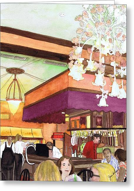 French Quarter Dining-coffee Pot Restaurant Greeting Card by June Holwell