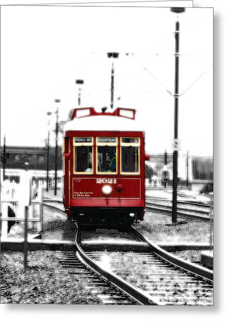 French Quarter French Market Street Car New Orleans Color Splash Black And White With Diffuse Glow Greeting Card by Shawn O'Brien