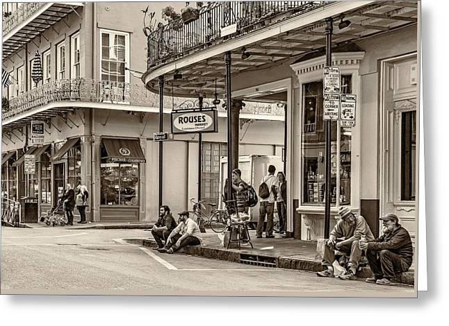 French Quarter - Hangin' Out Sepia Greeting Card by Steve Harrington