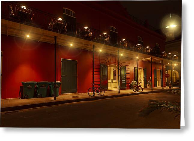 French Quarter In Red Greeting Card by Stellina Giannitsi