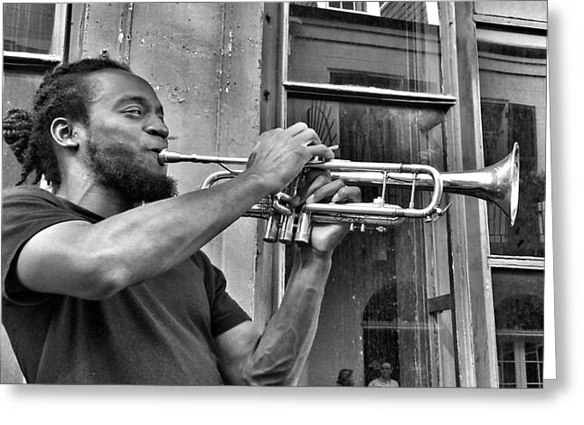 French Quarter Street Musician Greeting Card by Mike Barch