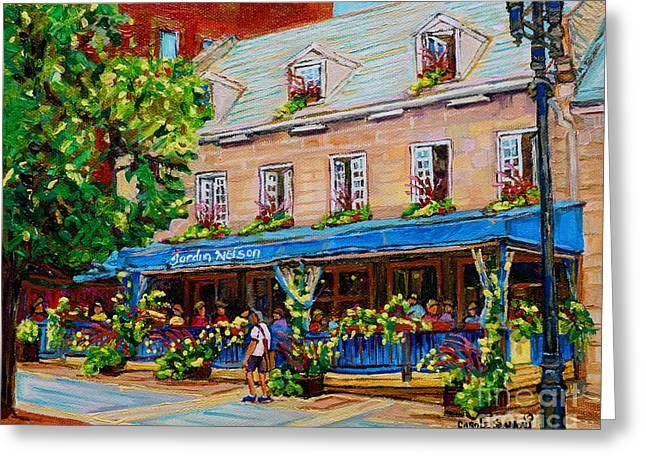 French Restaurant Jardin Nelson Paris Style Bistro Place Jacques Cartier Terrace Garden C Spandau   Greeting Card by Carole Spandau