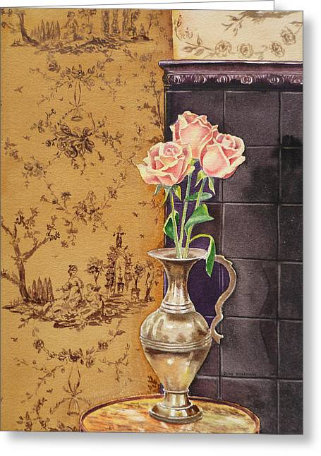 French Roses Greeting Card by Irina Sztukowski