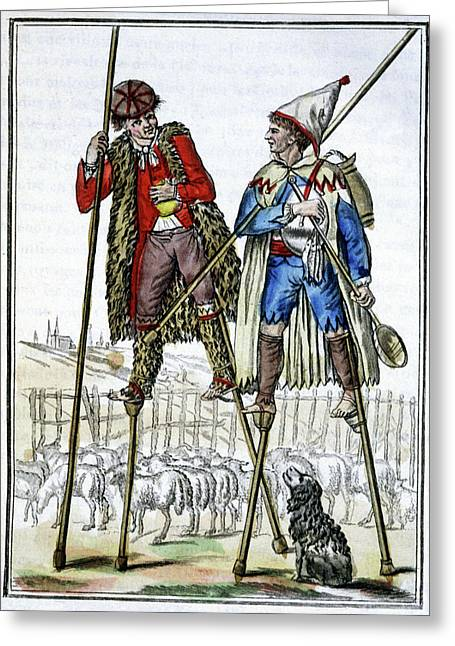 French Shepherds On Stilts Greeting Card by Cci Archives