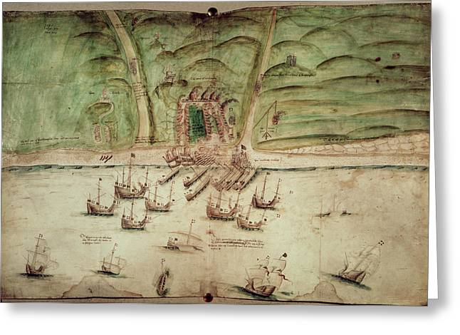 French Ships Attacking Brighton Greeting Card by British Library