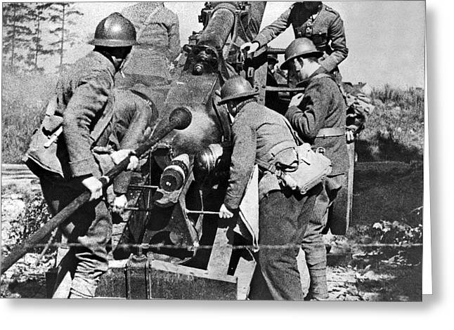 French Soldiers Fire Their 155mm Artlillery Piece At German Posi Greeting Card by Underwood Archives