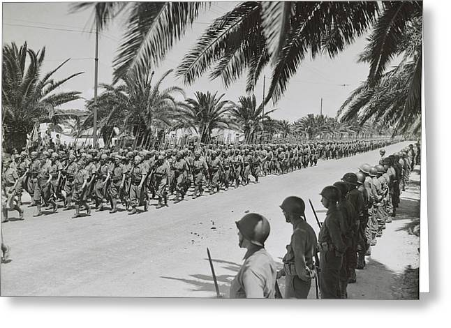 French Soldiers Marching In The Allied Greeting Card by Stocktrek Images