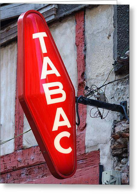 French Tobacconist Sign Greeting Card by Dutourdumonde Photography