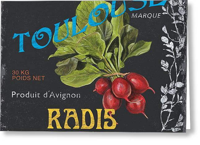 French Veggie Labels 3 Greeting Card by Debbie DeWitt