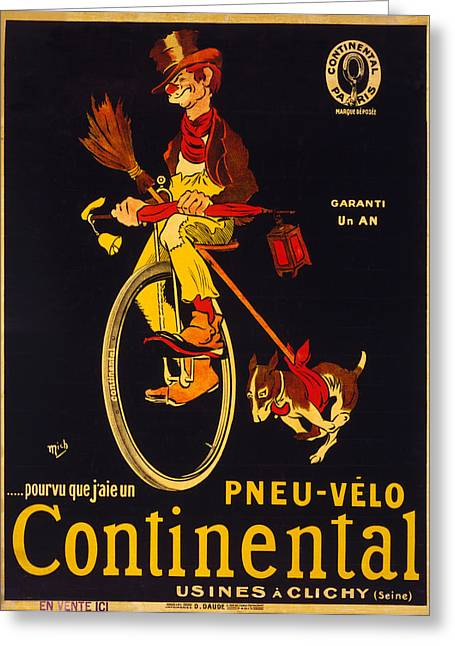 French Vintage Bicycle Poster  Greeting Card by Georgia Fowler
