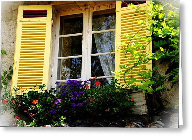 French Window Dressing Greeting Card by Jacqueline M Lewis