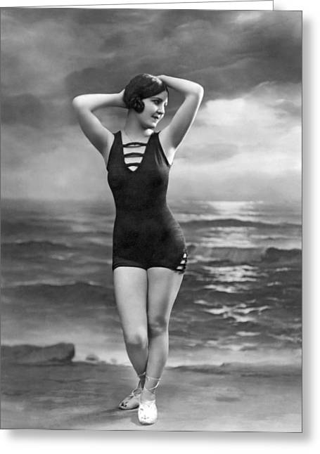 French Woman In A Bathing Suit Greeting Card