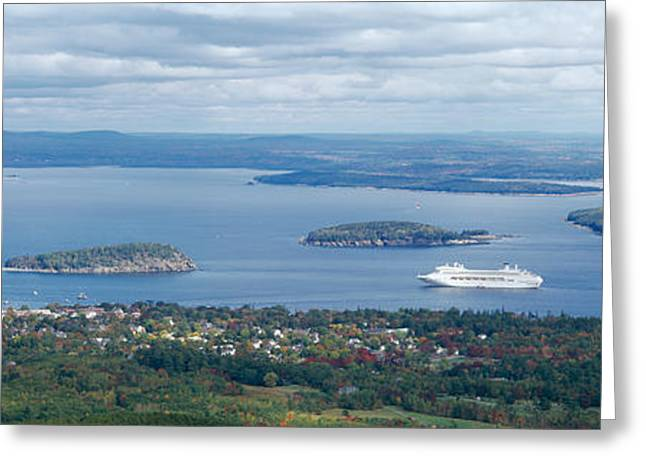 Boat Cruise Greeting Cards - Frenchmans Bay Bar Harbor Me Usa Greeting Card by Panoramic Images