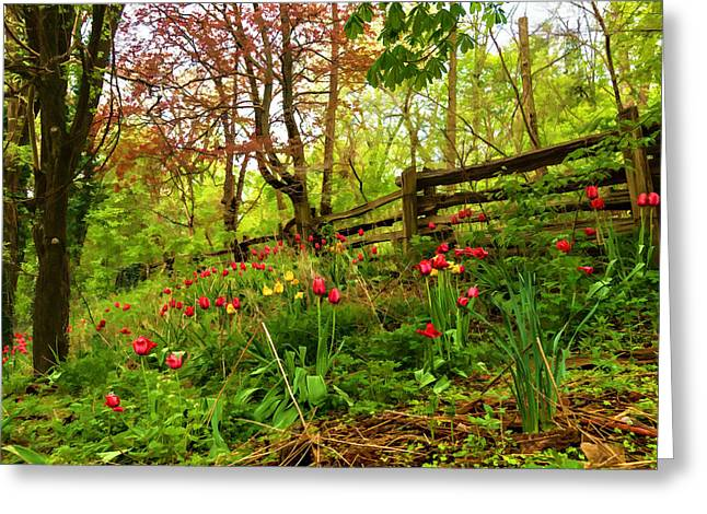 Fresh And Colorful Hillside - Impressions Of Spring Greeting Card