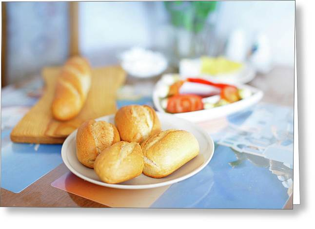 Fresh Bread Rolls On The Table Greeting Card
