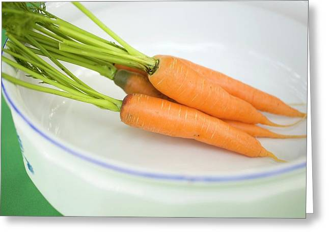 Fresh Carrots In White Dish Greeting Card