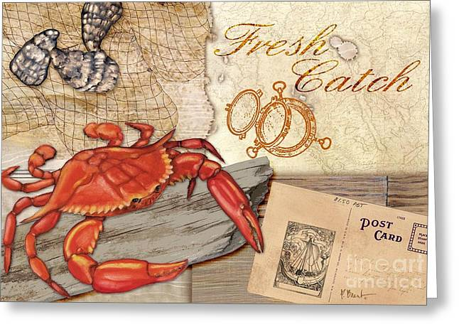 Fresh Catch Red Crab Greeting Card by Paul Brent