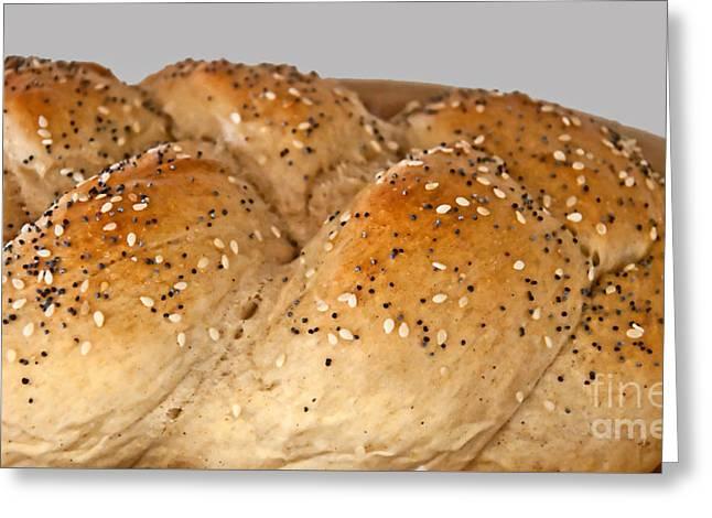 Fresh Challah Bread Art Prints Greeting Card by Valerie Garner