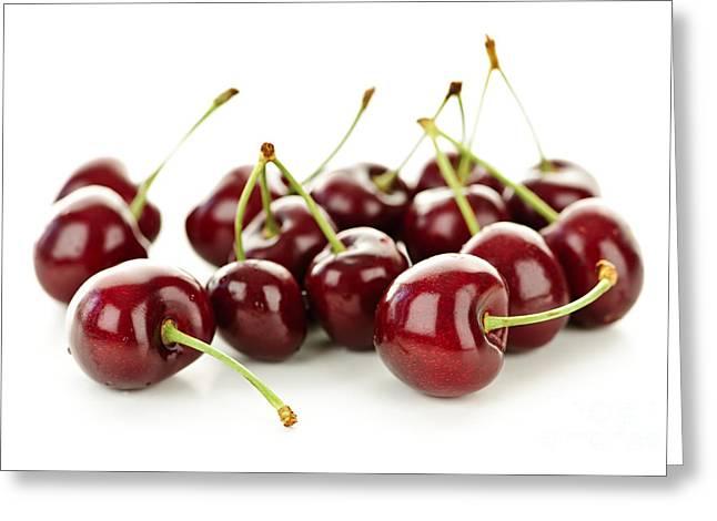Fresh Cherries On White Greeting Card