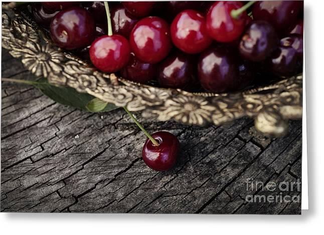 Fresh Cherry Greeting Card by Mythja  Photography