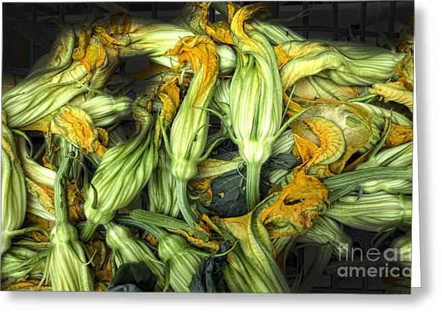 Fresh Courgettes Or Zucchini Flowers Greeting Card