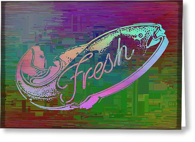 Fresh Fish Cubed Greeting Card by Tim Allen