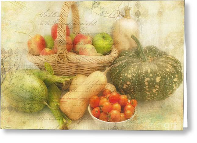 Fresh From The Garden Greeting Card by Linda Lees