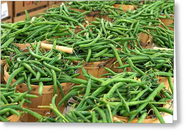 Fresh Green Beans In Baskets Greeting Card