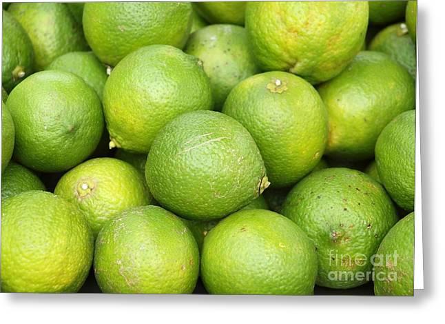 Greeting Card featuring the photograph Fresh Green Lemons by Yali Shi