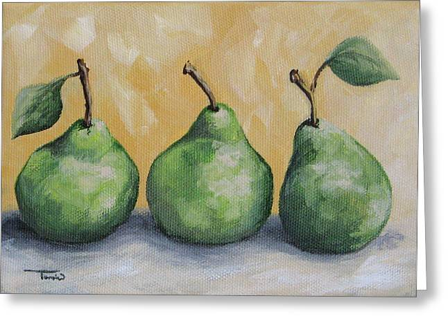 Fresh Green Pears Greeting Card