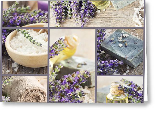 Fresh Lavender Collage Greeting Card by Mythja  Photography