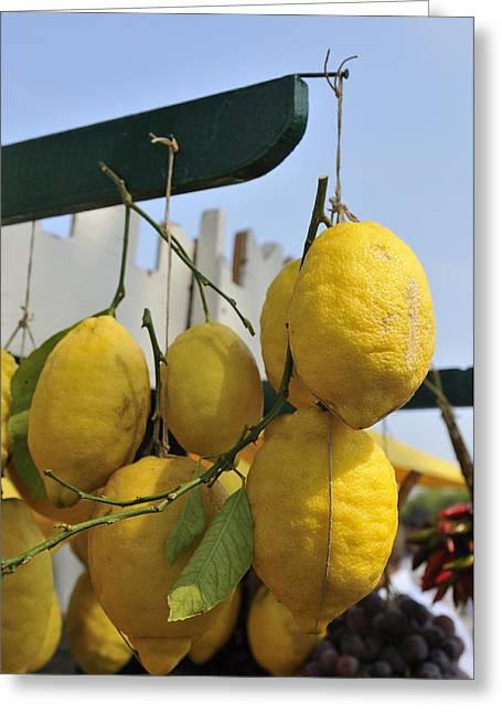 Fresh Lemons At The Market Greeting Card by Matthias Hauser
