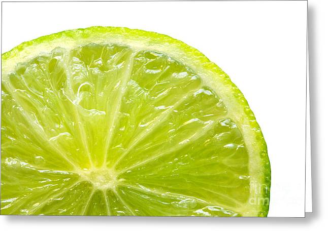 Fresh Lime Isolated On White Background Greeting Card