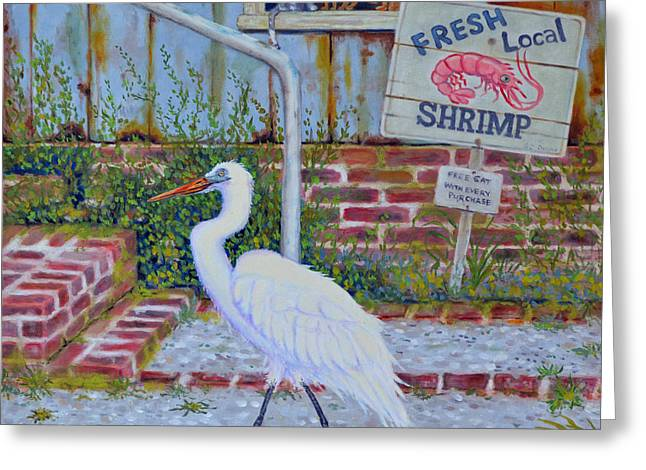 Greeting Card featuring the painting Fresh Local Shrimp  by Dwain Ray
