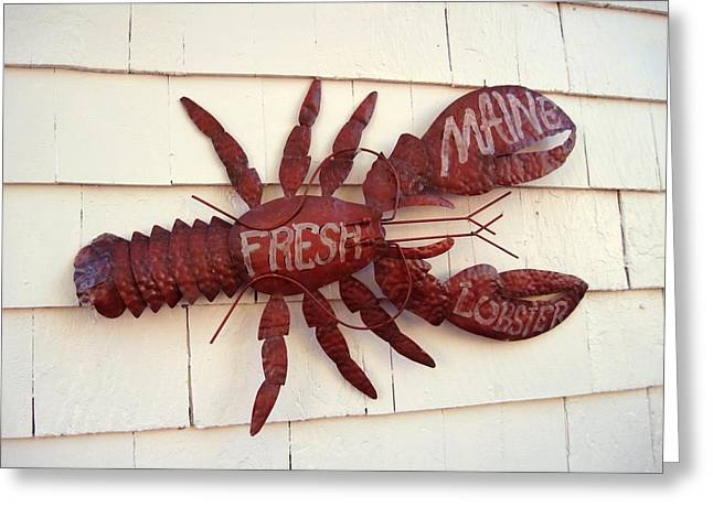 Fresh Maine Lobster Sign Boothbay Harbor Maine Greeting Card by Patricia E Sundik