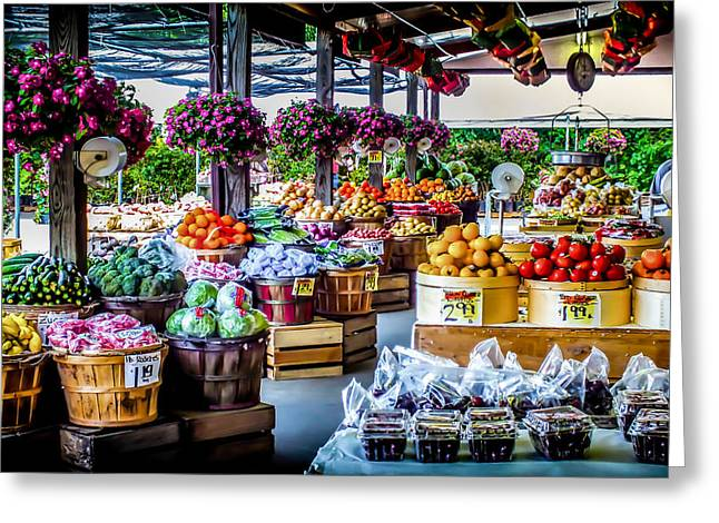 Fresh Market Greeting Card by Karen Wiles