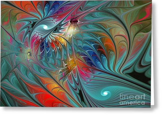 Fresh Mints And Cool Blues-abstract Fractal Art Greeting Card
