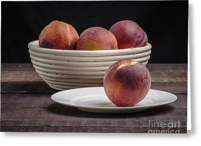 Fresh Peaches Greeting Card by Edward Fielding