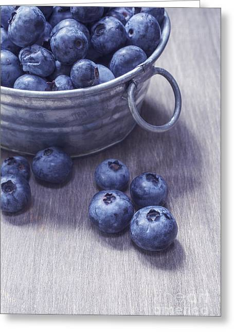 Fresh Picked Blueberries With Vintage Feel Greeting Card