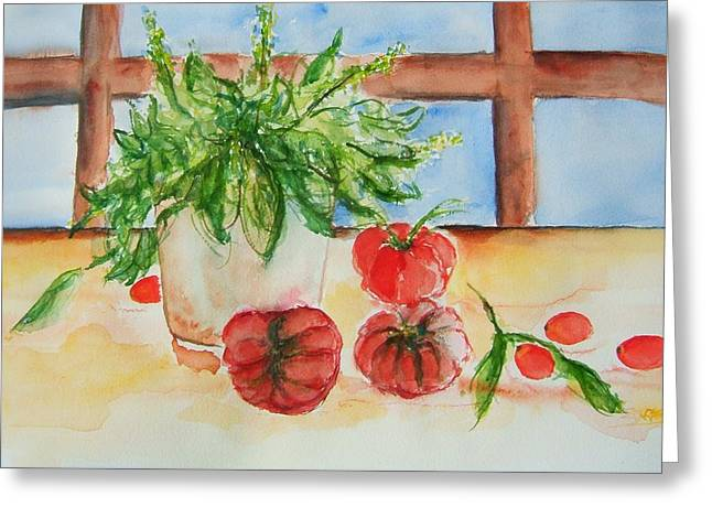 Fresh Picked Tomatoes And Basil Greeting Card by Elaine Duras
