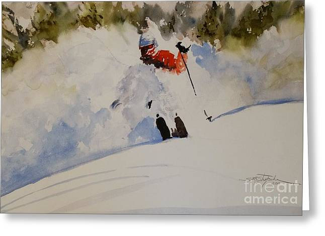Greeting Card featuring the painting Fresh Powder by Sandra Strohschein