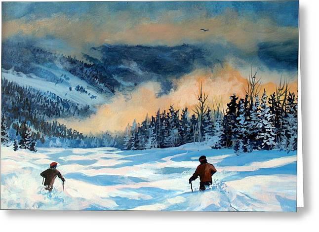 Fresh Powder Greeting Card by W  Scott Fenton