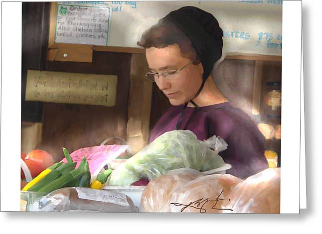 Greeting Card featuring the painting Fresh Produce For Sale by Bob Salo