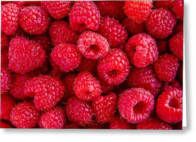Fresh Raspberries Greeting Card by Teri Virbickis