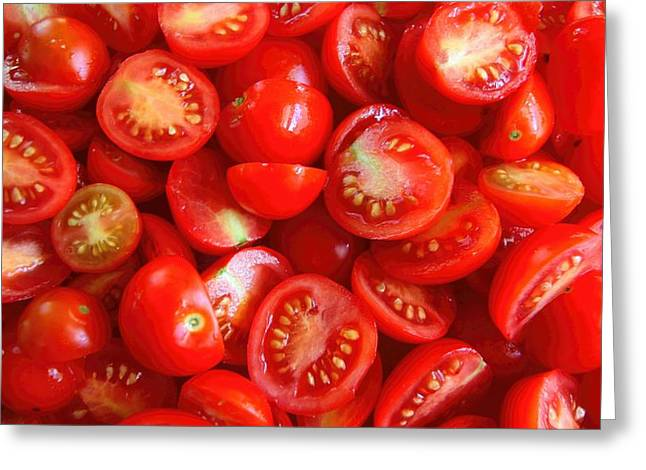 Fresh Red Tomatoes Greeting Card by Amanda Stadther