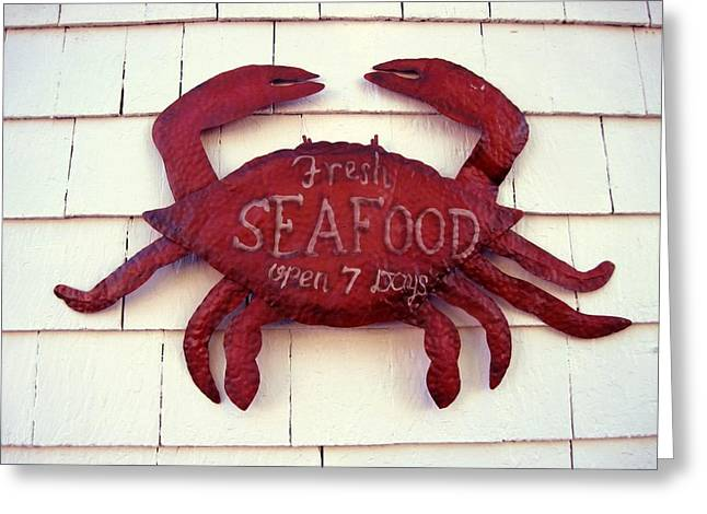 Fresh Seafood Sign Boothbay Harbor Greeting Card by Patricia E Sundik