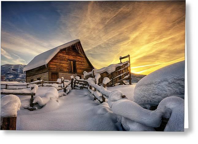 Fresh Snow At The Barn Greeting Card