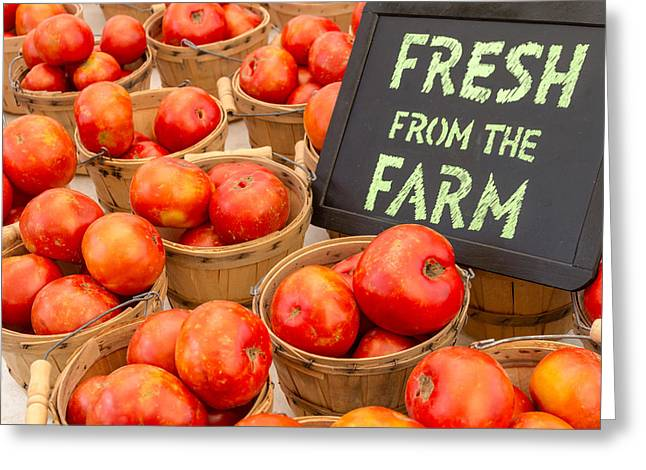 Fresh Tomatoes In Baskets At Farmers Market Greeting Card by Teri Virbickis