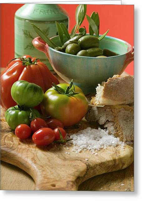 Fresh Tomatoes, Olives, Bread, Salt And Olive Oil Greeting Card